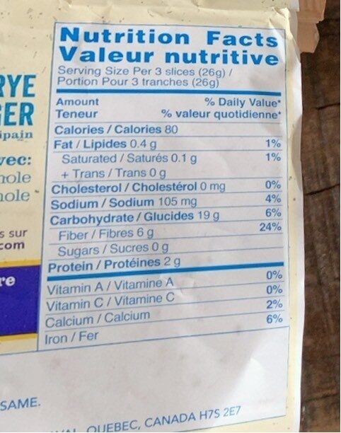 Seigle léger - Nutrition facts - fr
