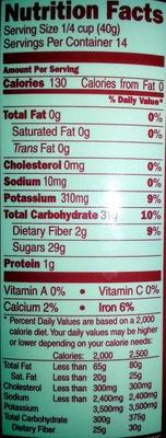 Natural California Raisins - Nutrition facts