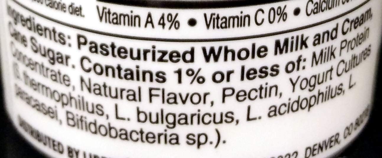 French Vanilla naturally flavored Yogurt - Ingredients