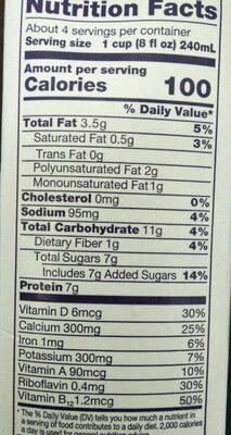 Organic soymilk - Nutrition facts - en