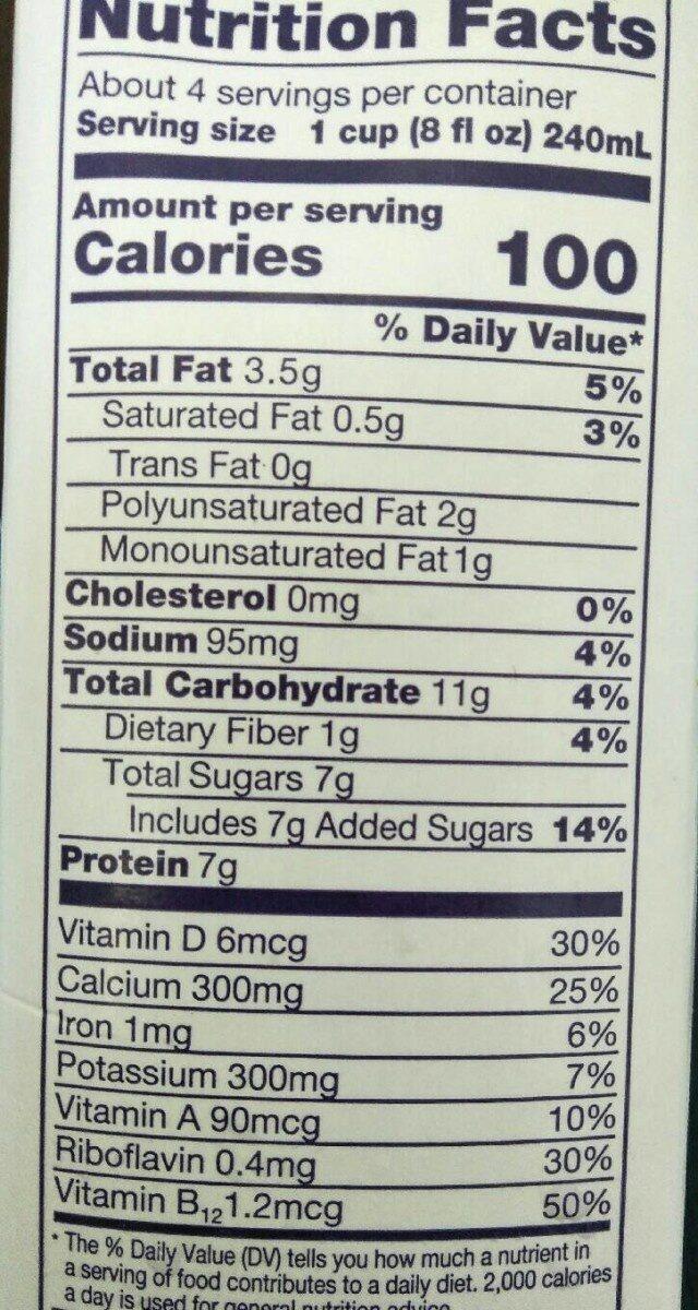 Organic Soymilk Vanilla - Nutrition facts