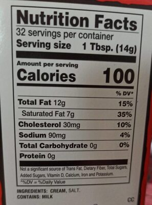 Burger sweet cream - Nutrition facts