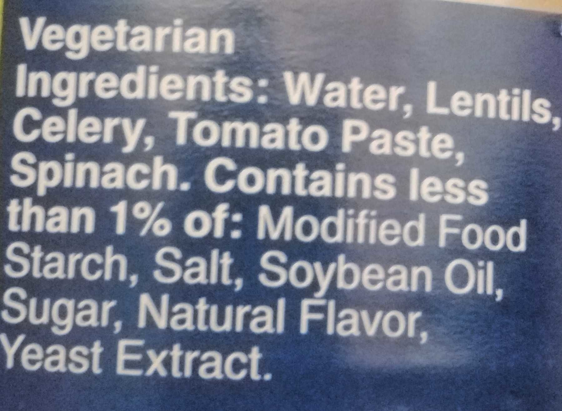 Progresso Vegetable Classics Lentil Soup - Ingredients - en