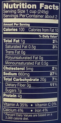 Progresso Traditional Cheese Tortellini in Garden Vegetable Tomato Soup - Nutrition facts - en