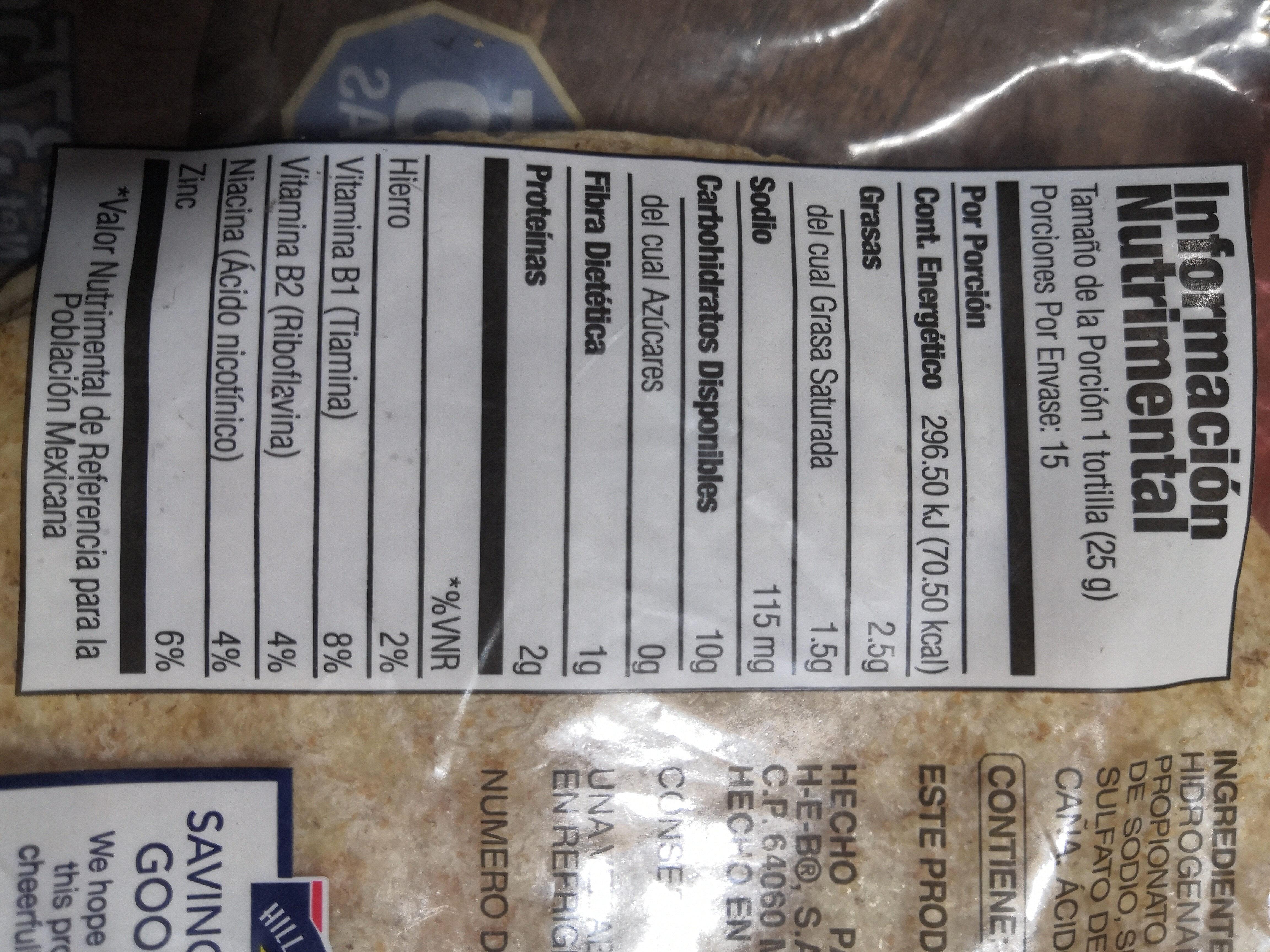 tortilla de harina con salvado - Ingredientes - es