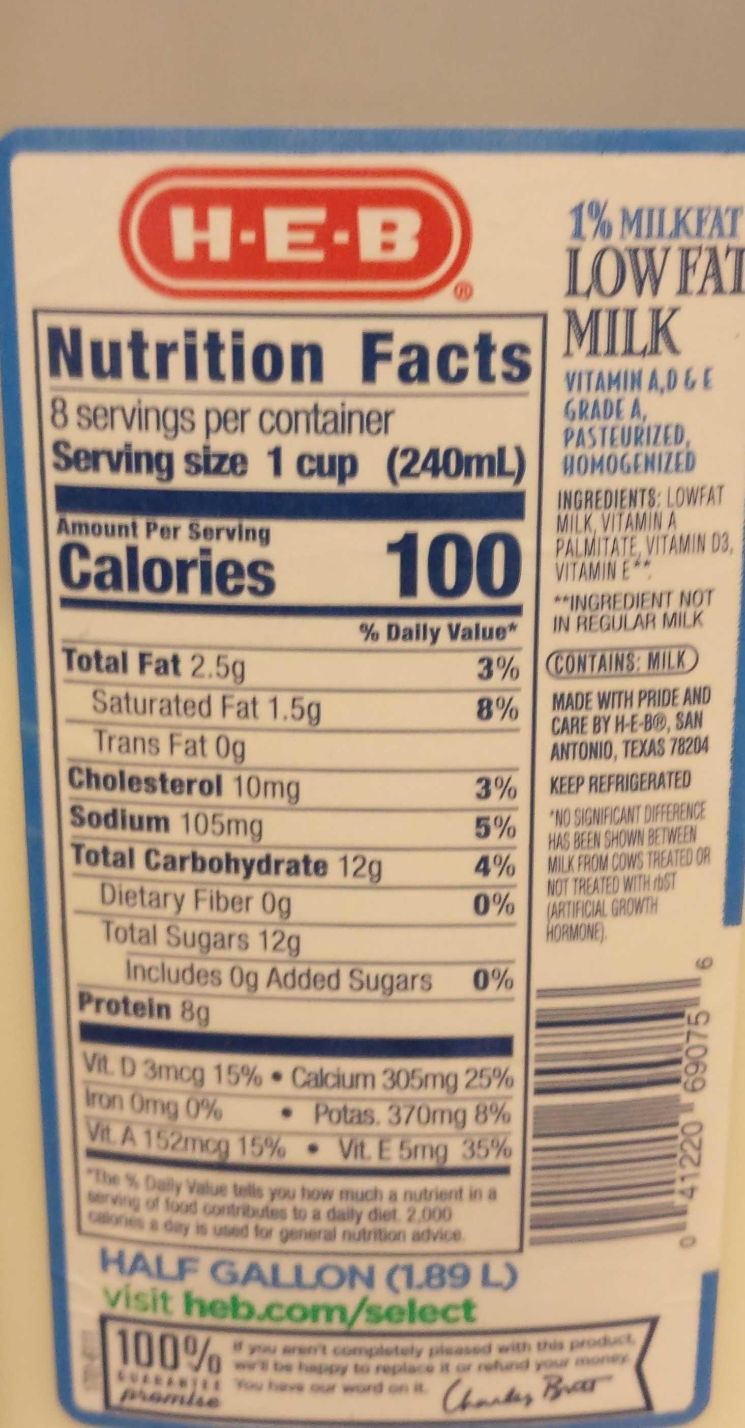 Low fat 1% milk - Nutrition facts - en
