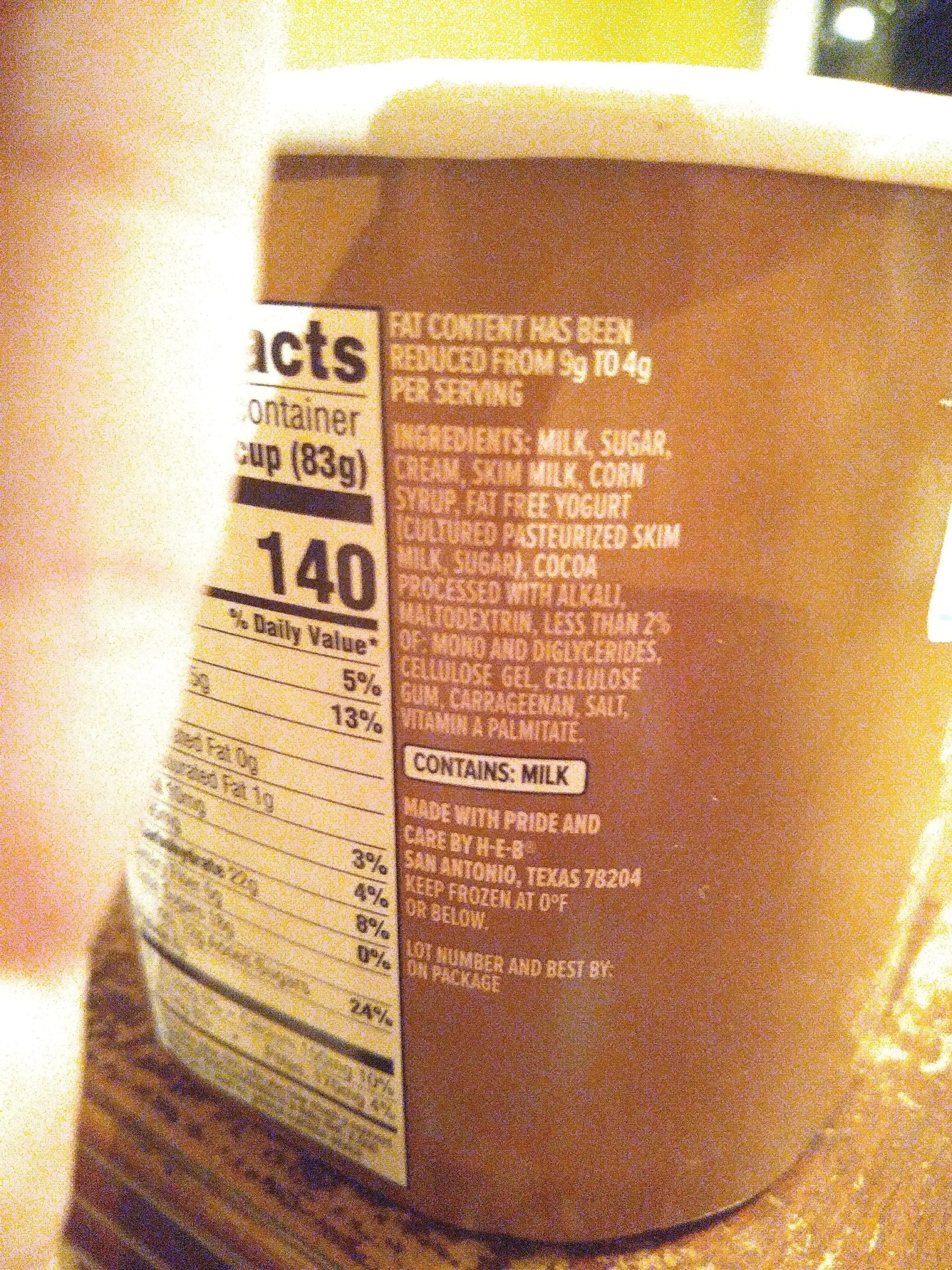 creamy creations chocolate frozen yogurt - Ingredients - en