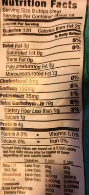 Sea salt pita chips - Nutrition facts - en