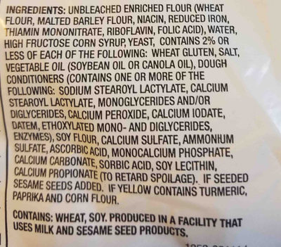 Enriched hamburger buns - Ingredients - en