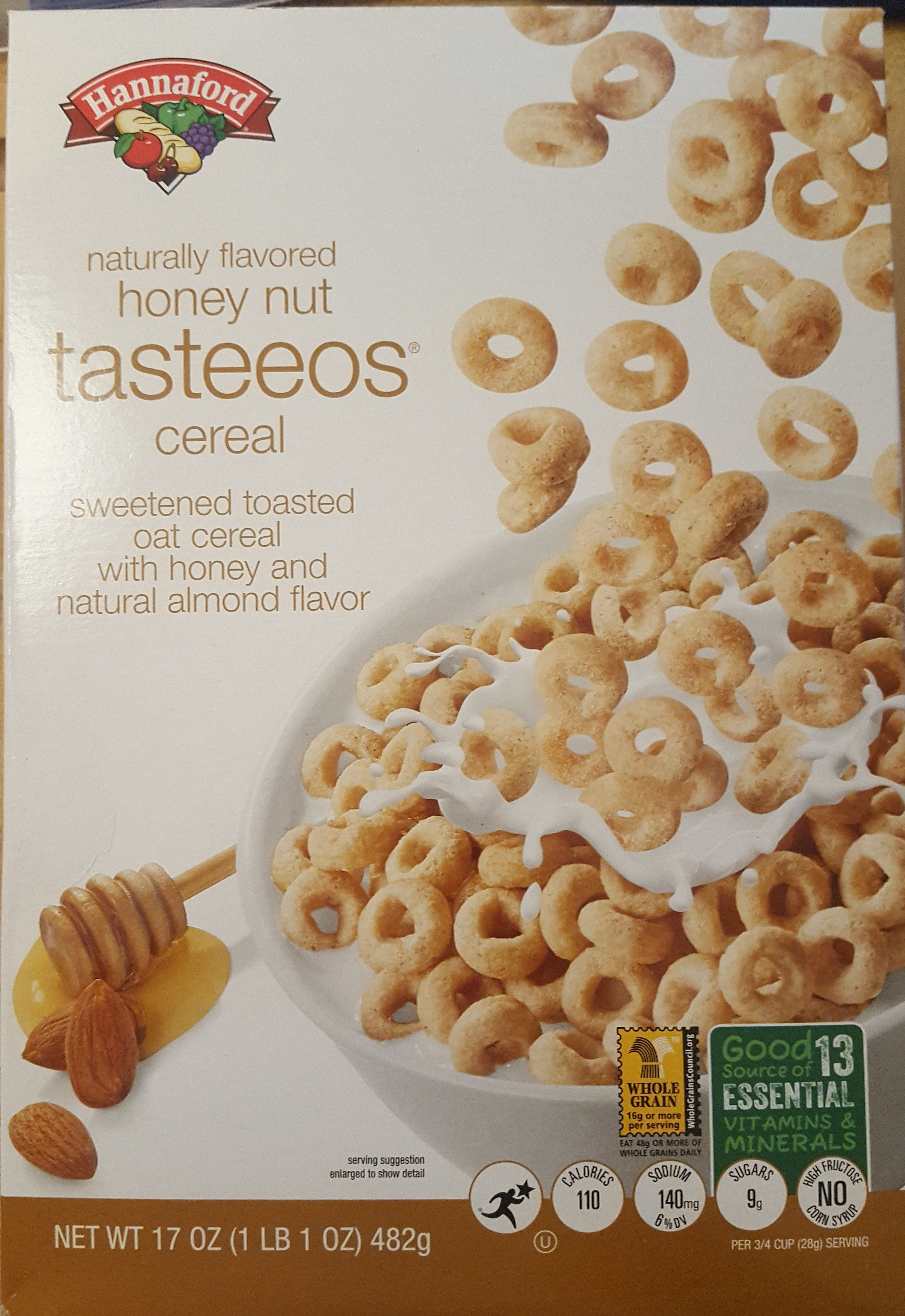 Hannaford, tasteeos, sweetened toasted oat cereal with honey and natural almond flavor, honey nut - Product - en