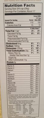 Hannaford, tasteeos, sweetened toasted oat cereal with honey and natural almond flavor, honey nut - Nutrition facts - en