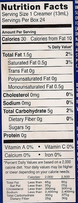 International Delight French Vanilla - Nutrition facts