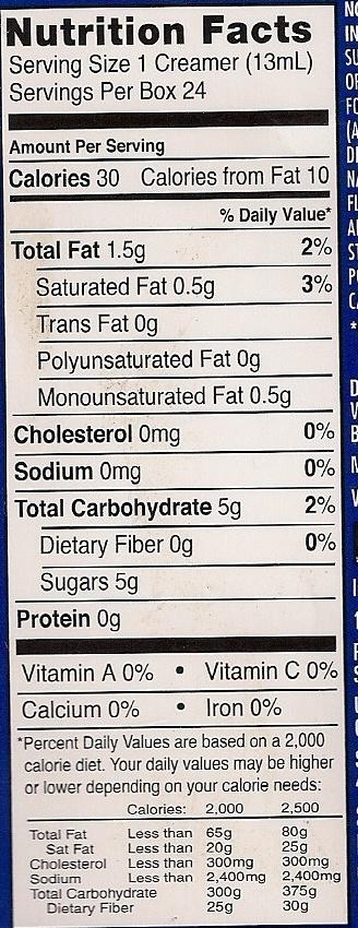 International Delight French Vanilla - Nutrition facts