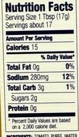 A.1. Original Sauce - Nutrition facts