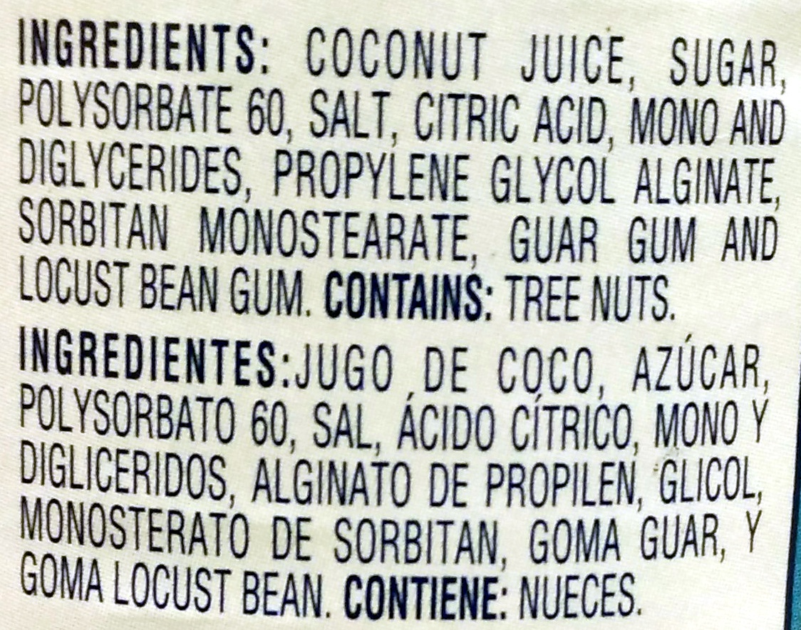 Cream of Coconut - Ingredients