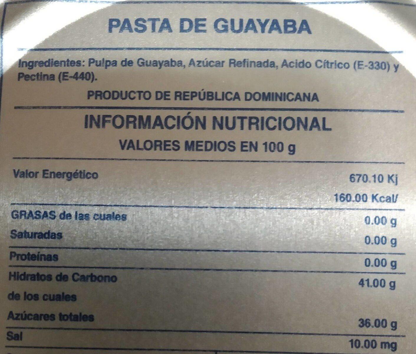 Foods guava paste - Informations nutritionnelles - en