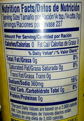 Adobo All Purpose Seasoning without pepper - Nutrition facts
