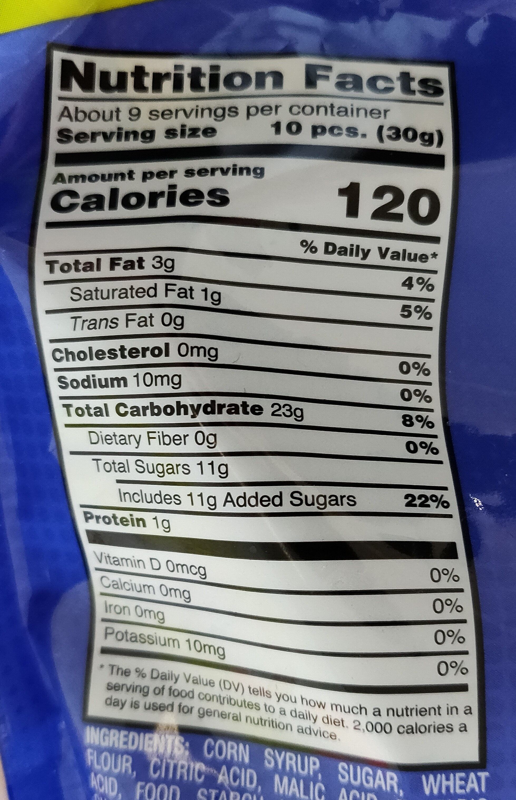 Bites, Flavored Candy, Strawberry Blue Raspberry Green Apple - Nutrition facts