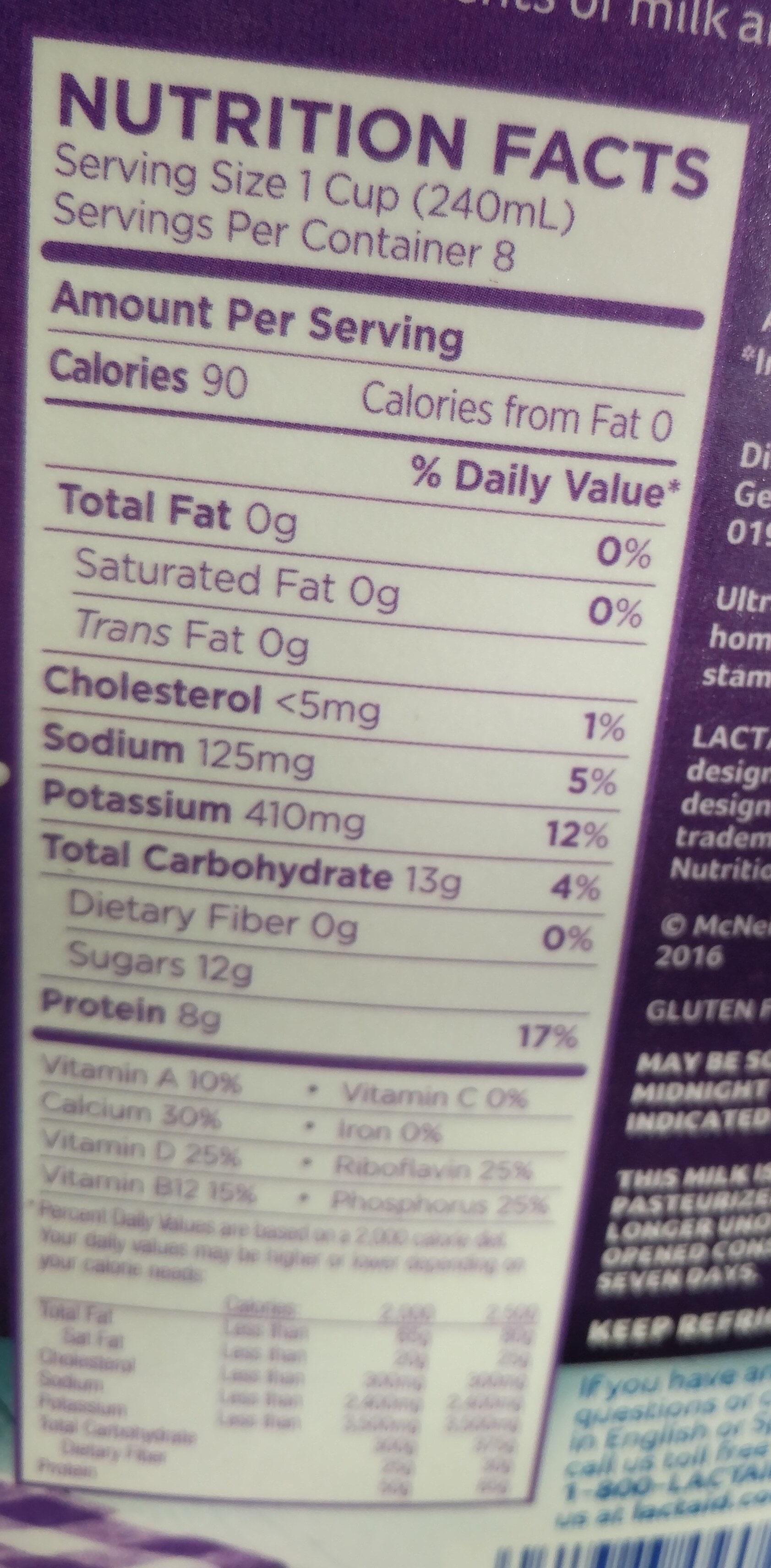 Fat Free Milk - Nutrition facts - en