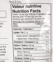 Melange guacamole - Nutrition facts - fr