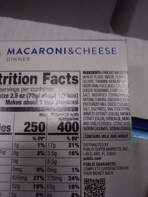 Macaroni and Cheese Dinner - Ingredients - en