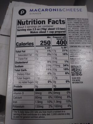 Macaroni and Cheese Dinner - Nutrition facts - en