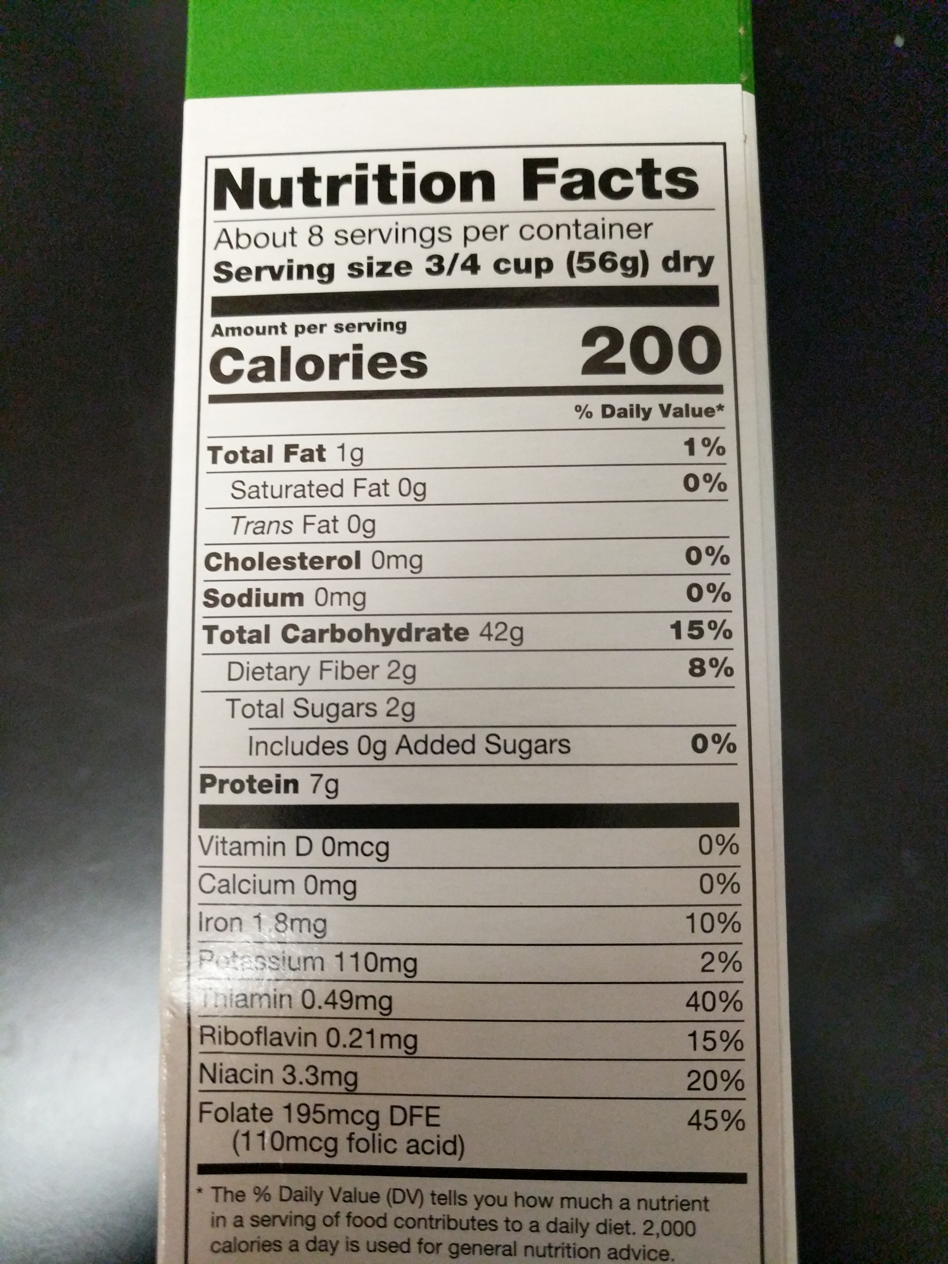 Rotini - Nutrition facts
