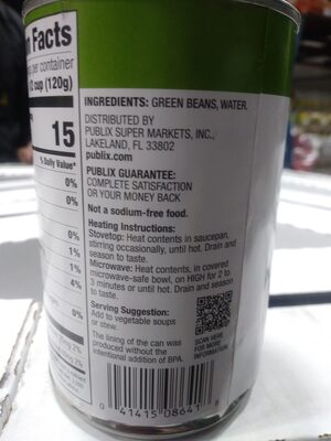 Cut Green Beans - No Salt Added - Ingredienti - en