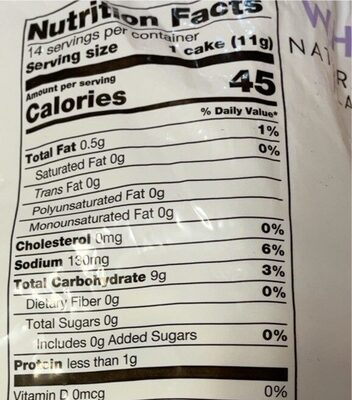 White cheddar rice cakes - Nutrition facts - en