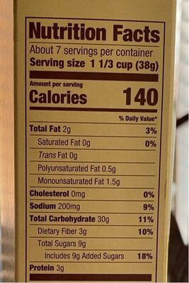 Greenwise organic peanut butter choco dots cereal - Nutrition facts - en