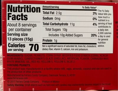 Candy coated peanuts - Nutrition facts - en