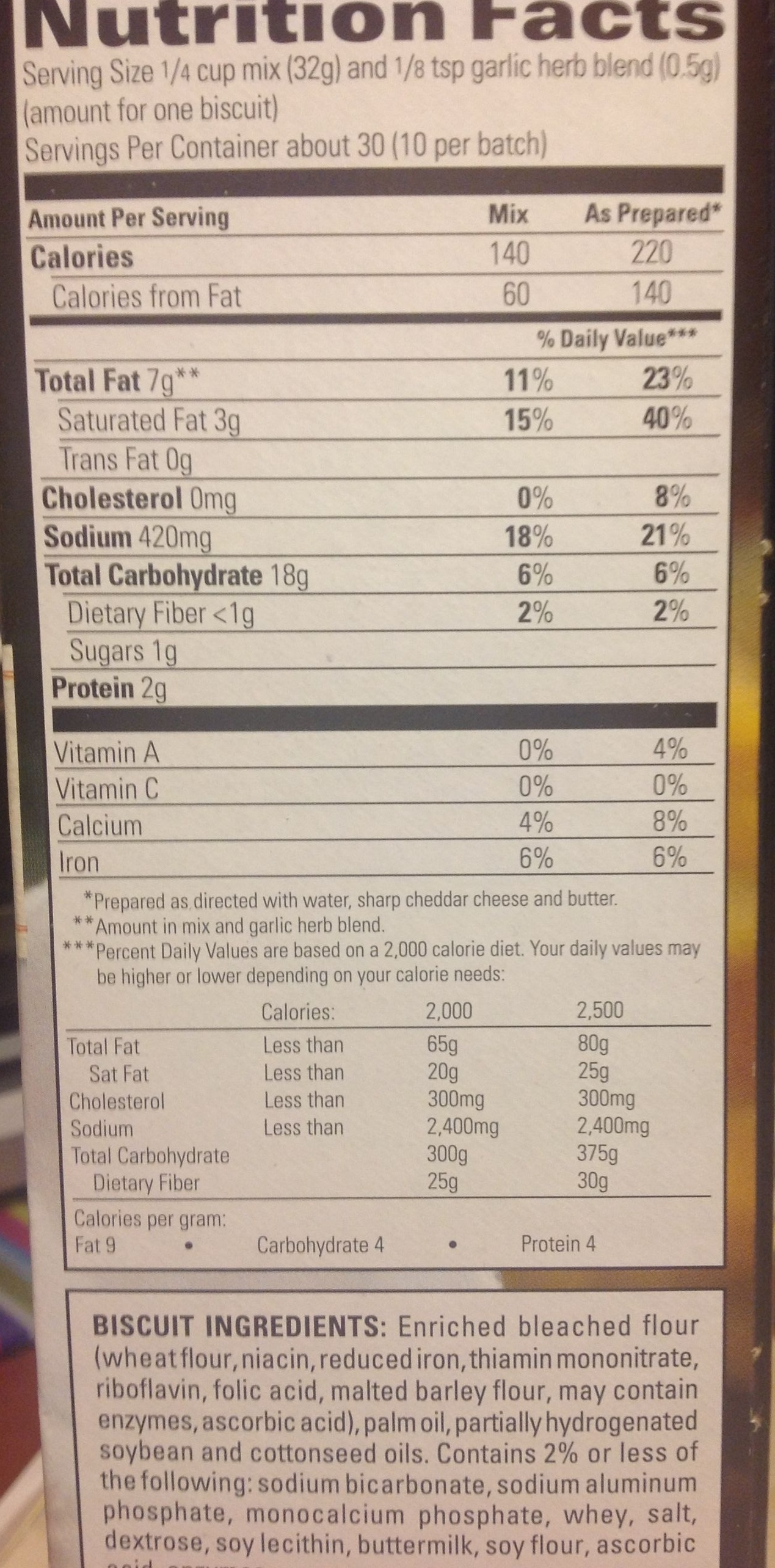 Cheddar bay biscuit mix - Nutrition facts