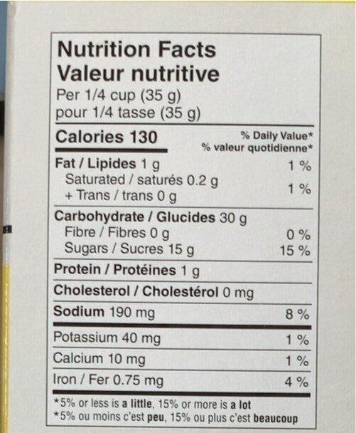 Mélange a pain au banane - Nutrition facts - fr