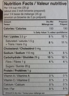 Mélanges à gâteaux trois chocolats - Nutrition facts