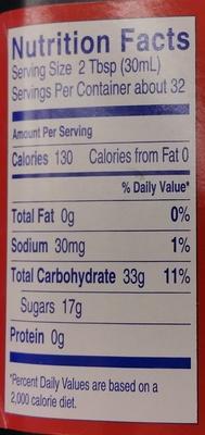 King syrup Golden - Nutrition facts - en