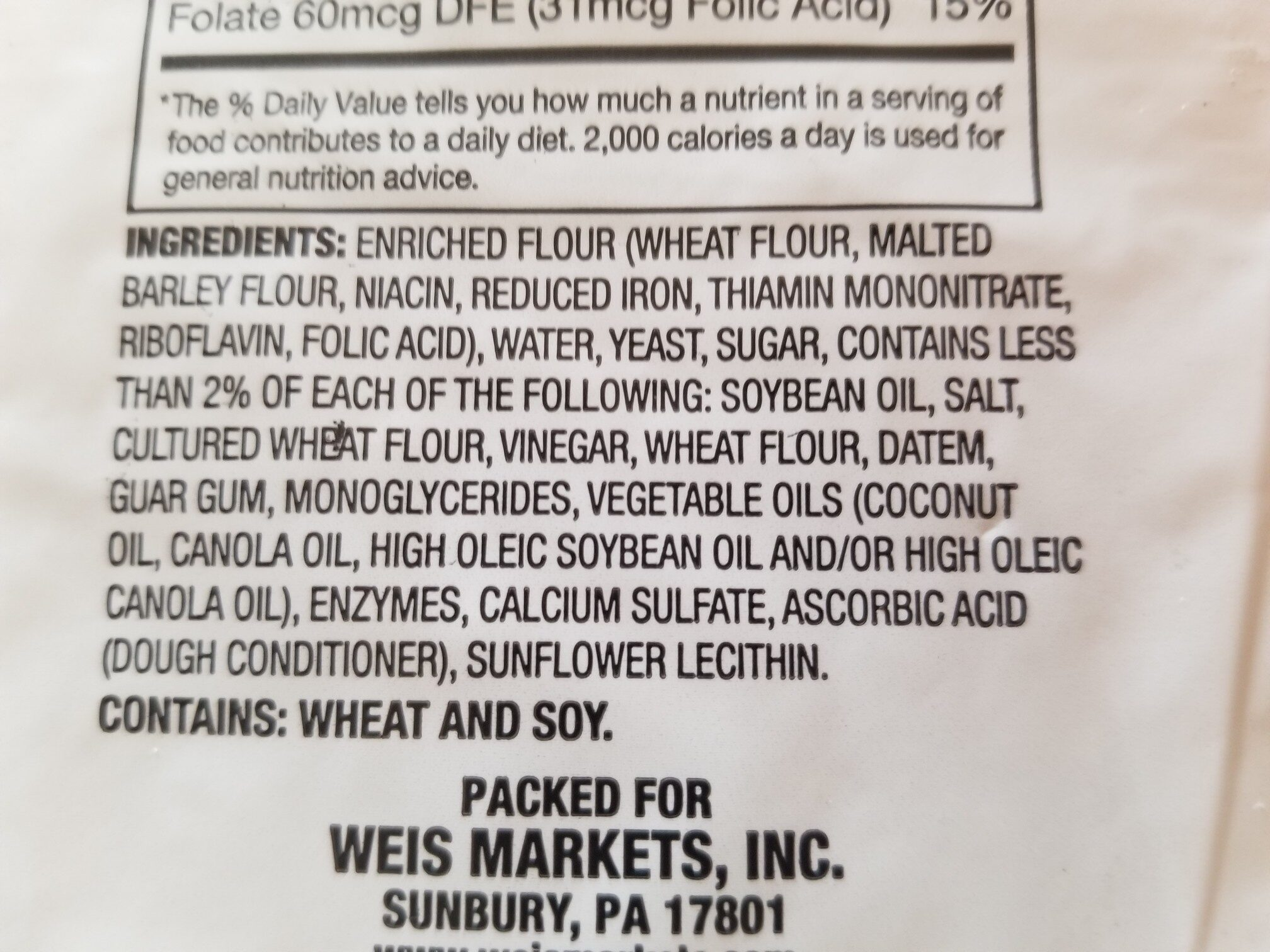 weis classic italian enriched bread - Ingredients - en