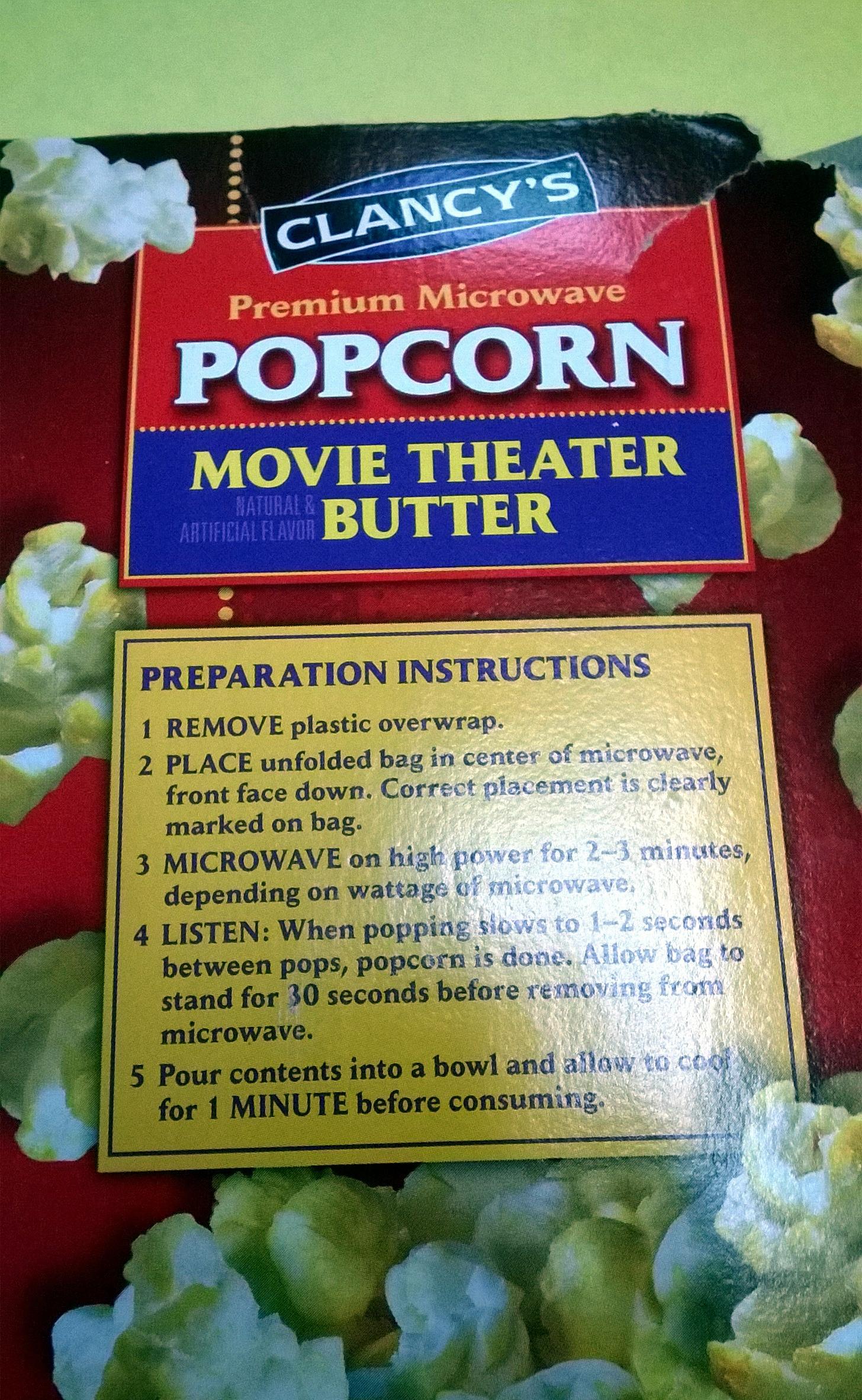 Premium Microwave Popcorn Clancy S