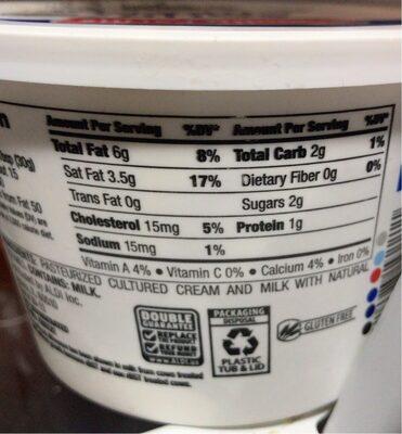 Friendly Farms Grade A Pasteurized Sour Cream - Nutrition facts - en