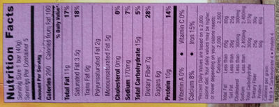 Protein Chewy Bars Peanut, Dark Chocolate, & Almond - Nutrition facts