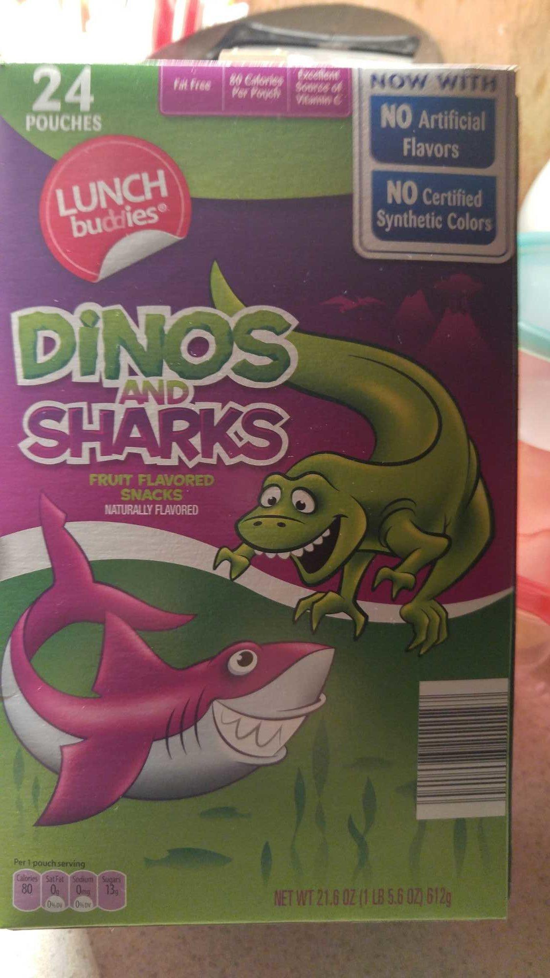 Dinos And Sharks Fruit Flavored Snacks, Strawberry, Orange, Grape, Lemon, Lime - Product - en