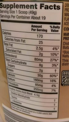 Elevation Protein Powder - Nutrition facts