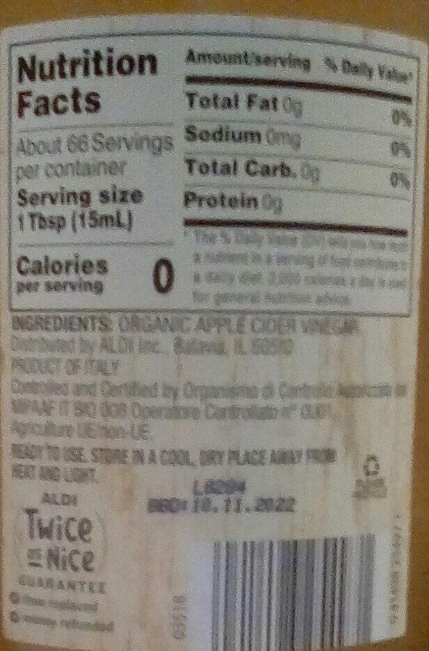 Organic apple cider vinegar - Ingredients - en