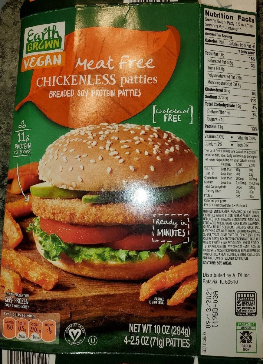 Meat free breaded soy protein chickenless patties - Product - en