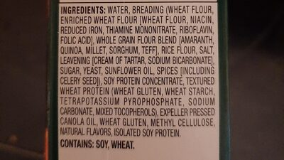 Meat free breaded soy protein chickenless patties - Ingrediënten - en