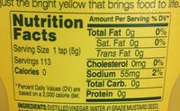 French's, classic yellow mustard - Nutrition facts - en