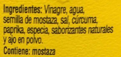 Mostaza Classic Yellow Botella Plástica 396 GR - Ingredientes - es