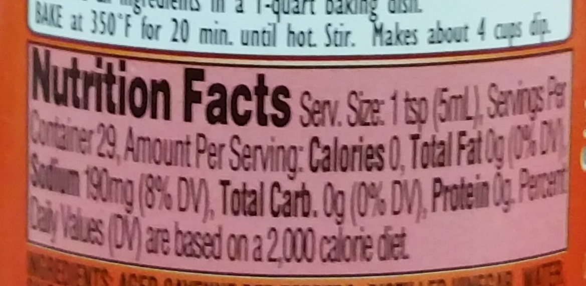 Sauce Cayenne Red Hot - Nutrition facts