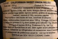 Relish Californian Sweet Onion - Ingrédients