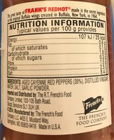 Frank's Red Hot Original - Nutrition facts