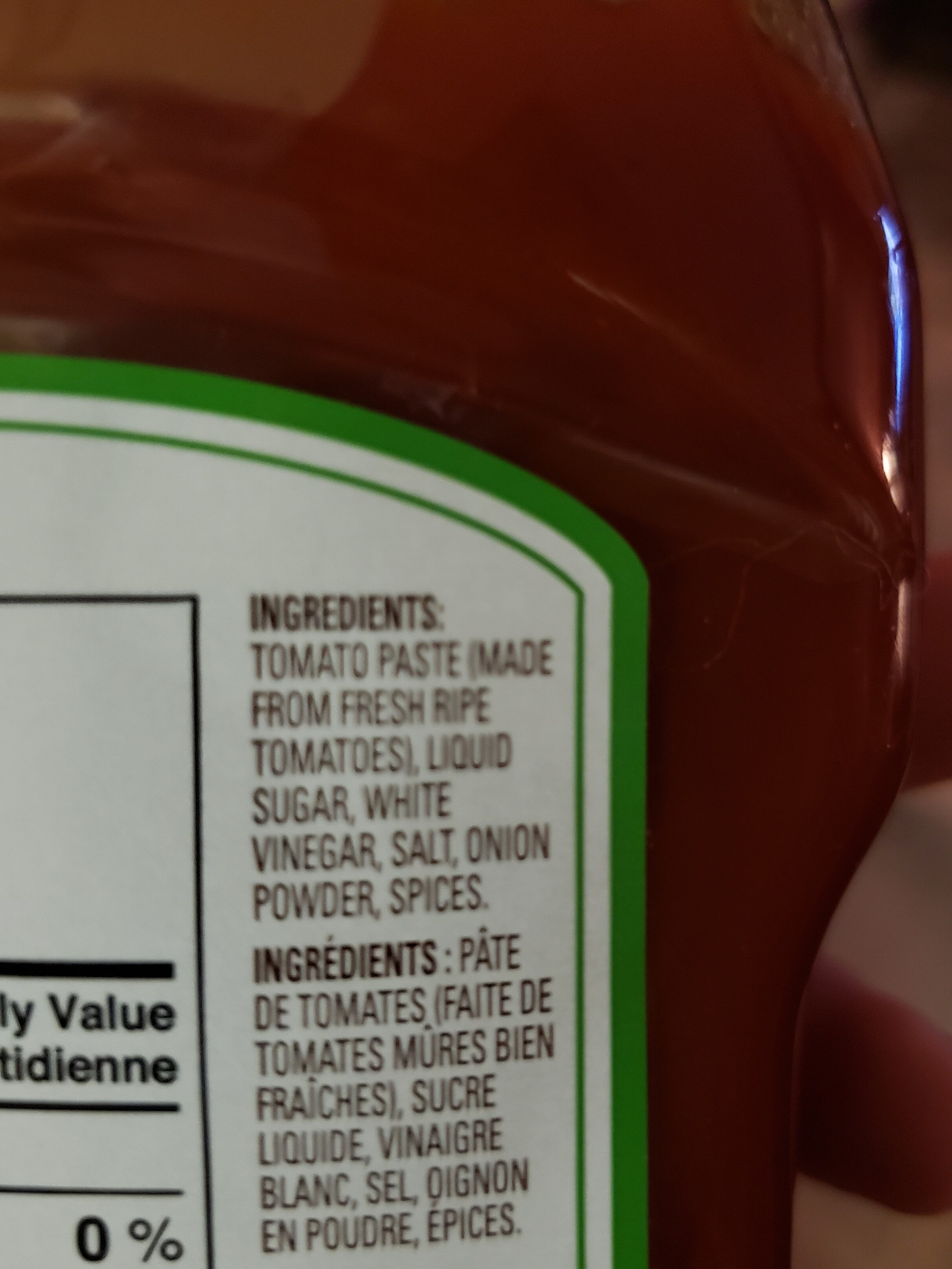 French's, tomato ketchup - Ingredients - en